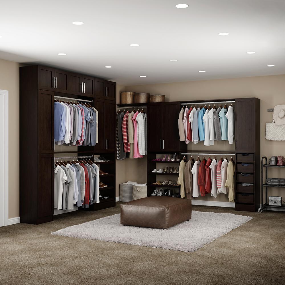 Madison 15 in. D x 255 in. W x 99 in. H Melamine Walk-in Closet System Kit in Mocha