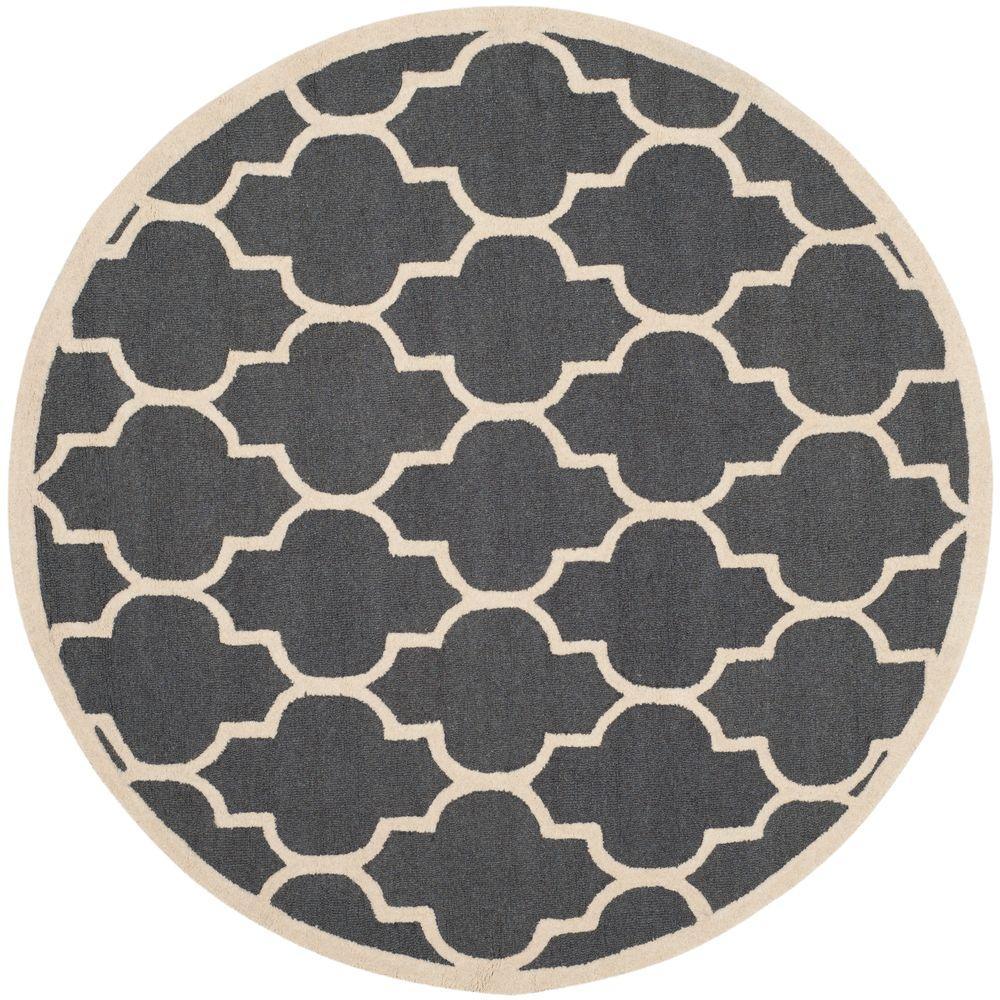 Cambridge Dark Gray/Ivory 10 ft. x 10 ft. Round Area Rug