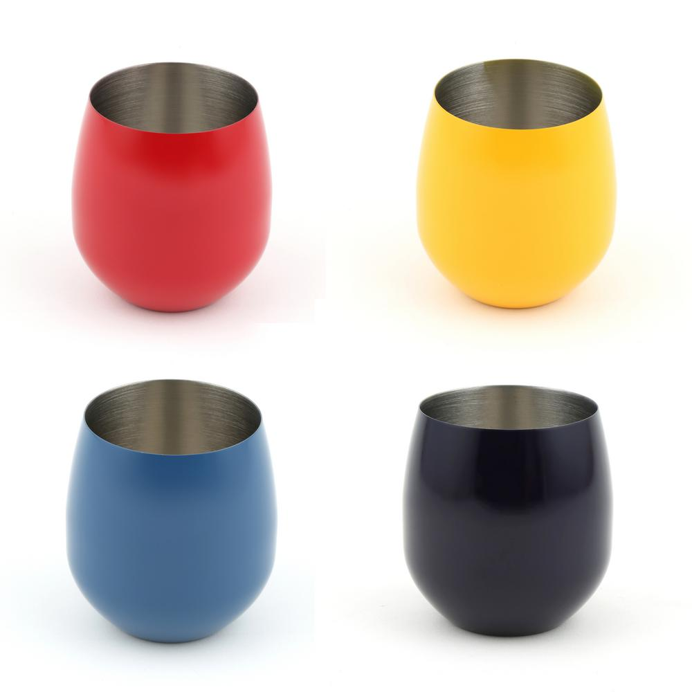 20 oz. Stainless Steel Scarlet, Daffodil, Lapis, and Cobalt Stemless Wine