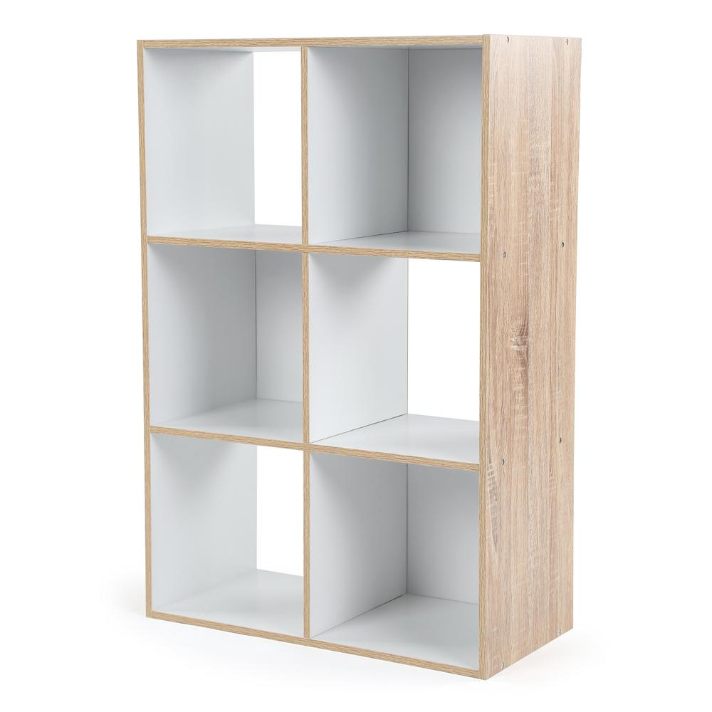 24 in. W x 36 in. H Natural/White 6-Cube Multi-Purpose Organizer