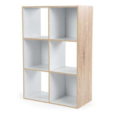 24 in. W x 36 in. H Natural/White 6-Cube Multi-Purpose Organizer Storage Unit