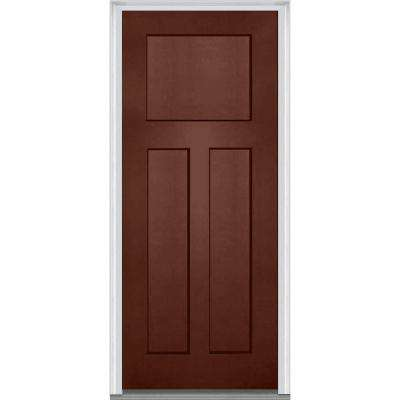 32 in. x 80 in. Right-Hand Inswing Craftsman 3-Panel Shaker Classic Painted Fiberglass Smooth Prehung Front Door