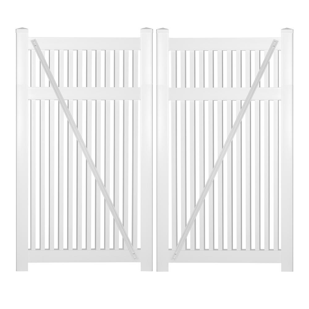 Williamsport 8 ft. W x 5 ft. H White Vinyl Pool Fence Double Gate