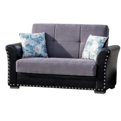 Diva 36 in. Gray Chenille 2-Seater Convertible Loveseat with Storage