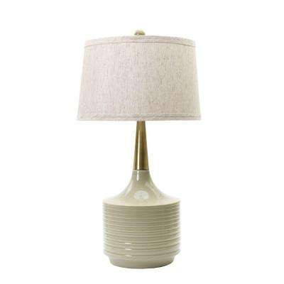 Heather with antique brass neck ceramic table lamp