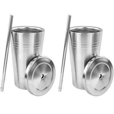 Stainless Steel Double Walled Insulated Cup with Straw and Lid (2-Pack)