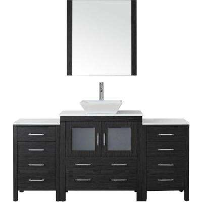 Dior 69 in. W Bath Vanity in Zebra Gray with Stone Vanity Top in White with Square Basin and Mirror and Faucet