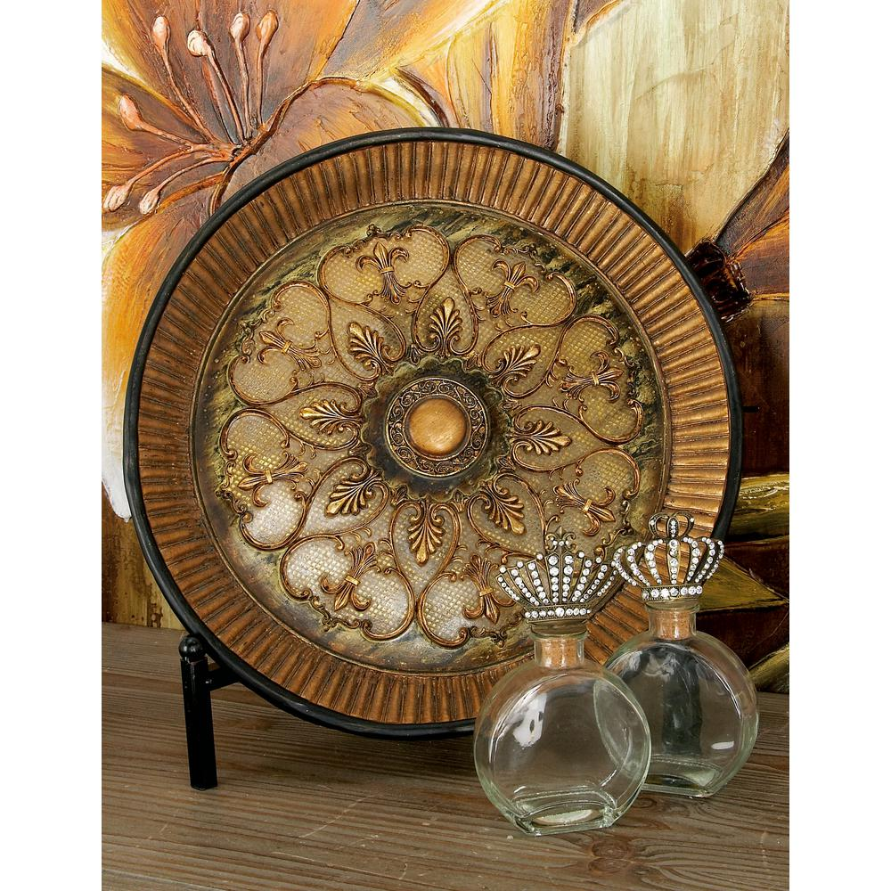 French Country Gold Polystone Fleur-de-Lis Plate with Iron Stand-58107 - The Home Depot  sc 1 st  The Home Depot & 16 in. French Country Gold Polystone Fleur-de-Lis Plate with Iron ...