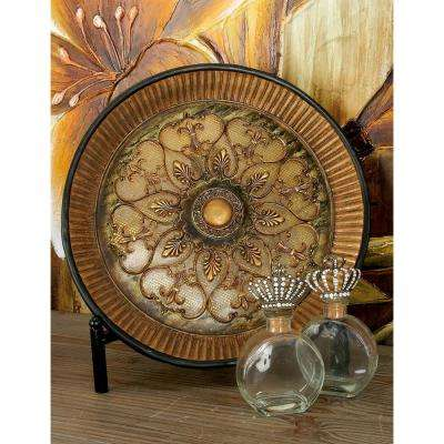 16 in. French Country Gold Polystone Fleur-de-Lis Plate with Iron Stand
