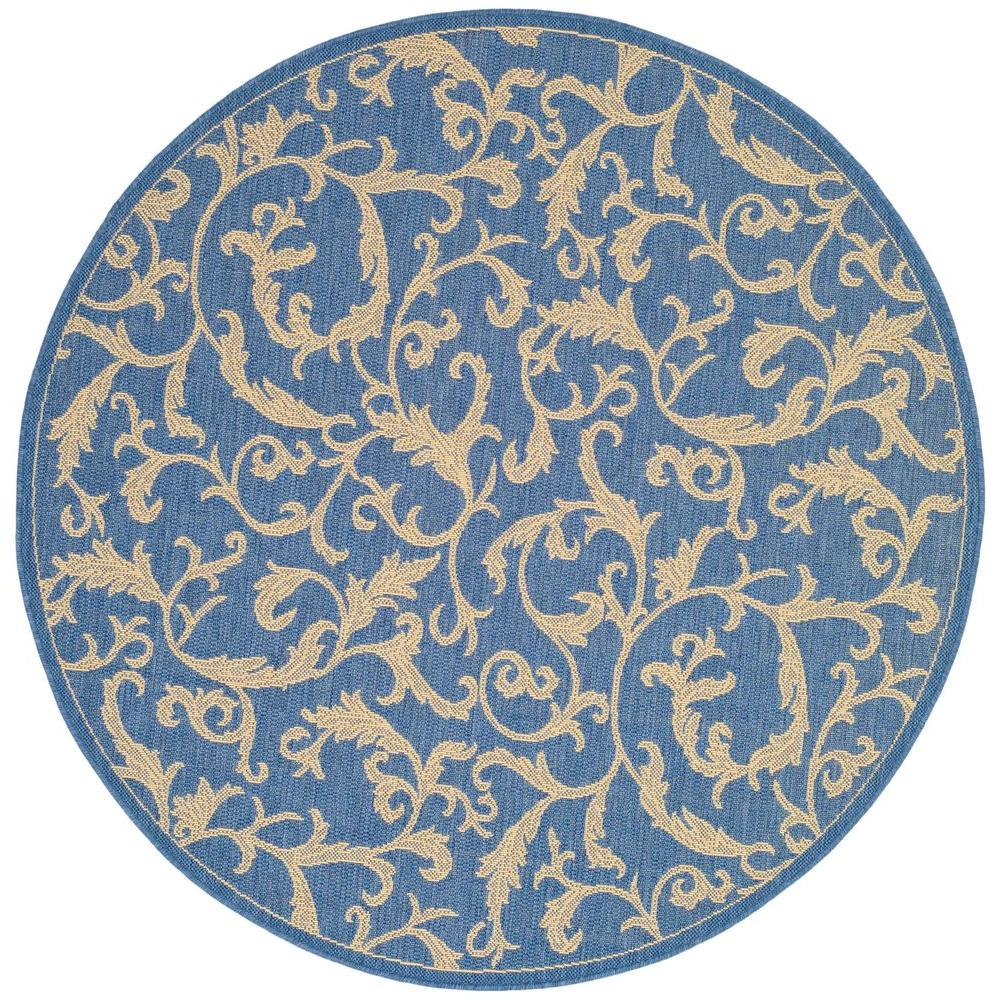 Safavieh Courtyard Blue/Natural 6 ft. 7 in. x 6 ft. 7 in. Indoor/Outdoor Round Area Rug