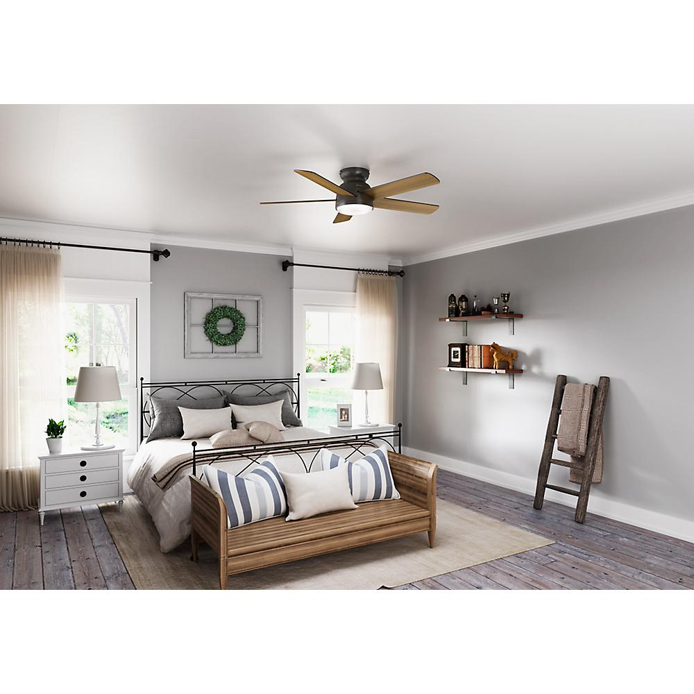 Hunter Romulus 54 in. Integrated LED Indoor Noble Bronze Low Profile  Ceiling Fan with Light Kit and Remote Remote Control