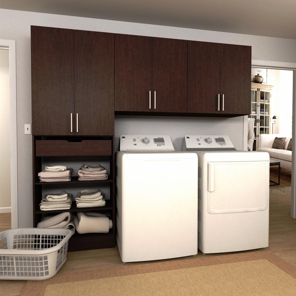 Horizon 90 in. W Mocha Wide Tower Storage Laundry Cabinet Kit