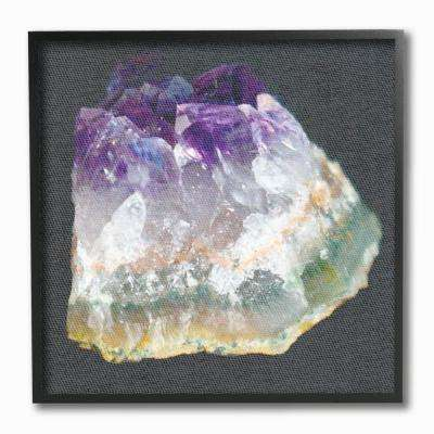 "12 in. x 12 in. ""Amethyst on Subtle Grey Linen Canvas Photograph"" by Daphne Polselli Framed Wall Art"
