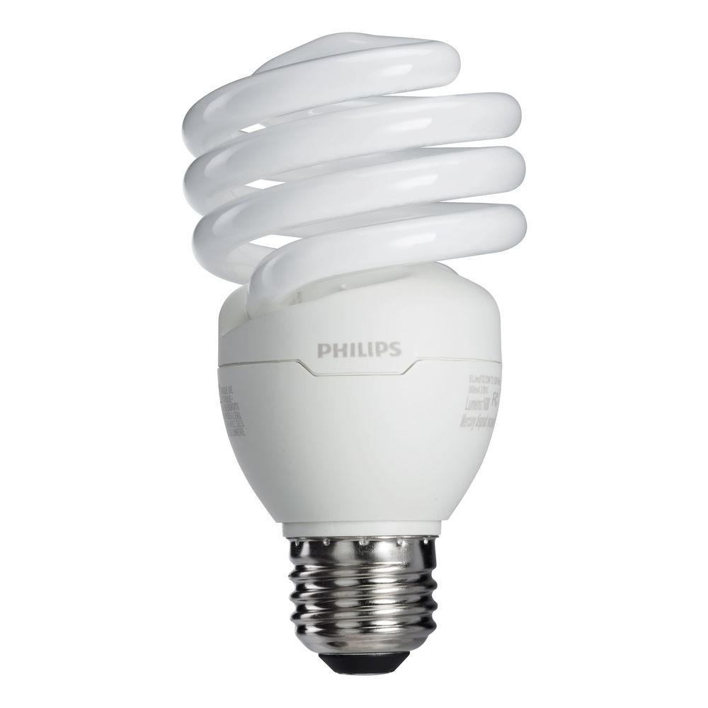 Philips 100w equivalent soft white 2700k t2 spiral cfl light bulb 4 pack 434738 the home depot Fluorescent light bulb