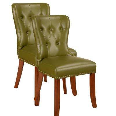 Green Vinyl Nail Head Trim Accent Chair (Set of 2)