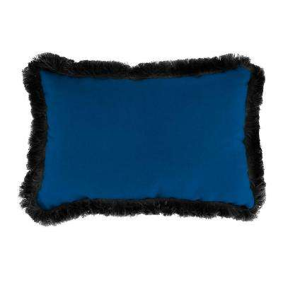 Sunbrella 9 in. x 22 in. Canvas Navy Lumbar Outdoor Pillow with Black Fringe