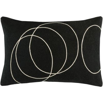 Bempton Black Geometric Polyester 19 in. x 19 in. Throw Pillow