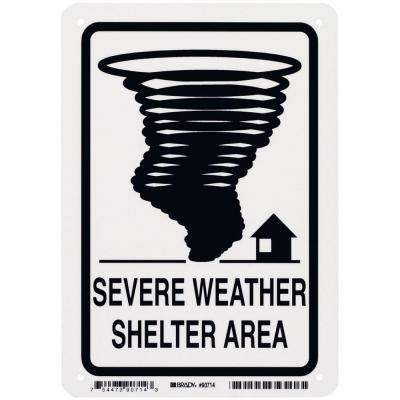 10 in. x 7 in. Glow-in-the-Dark Plastic Severe Weather Shelter Area Sign