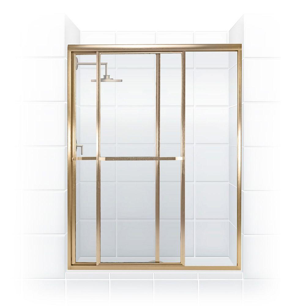 Coastal Shower Doors Paragon Series 48 in. x 66 in. Framed Sliding Shower Door with Towel Bar in Gold and Clear Glass