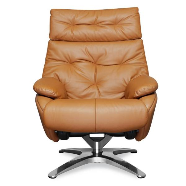 Poly and Bark Paradigm Tan Leather Lounge Chair with Ottoman