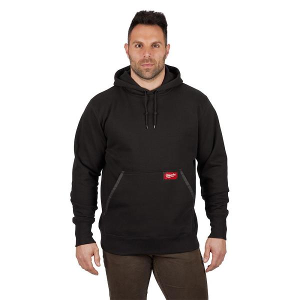 Men's Small Black Heavy Duty Cotton/Polyester Long-Sleeve Pullover Hoodie