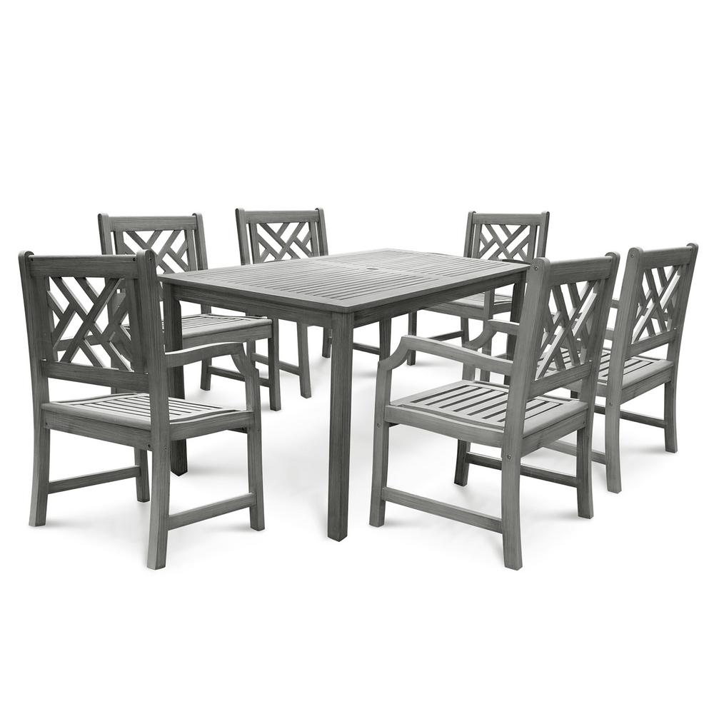Vifah Renaissance Hand-Scraped Acacia 7-Piece Patio Dining Set with Herringbone-Back Armchairs