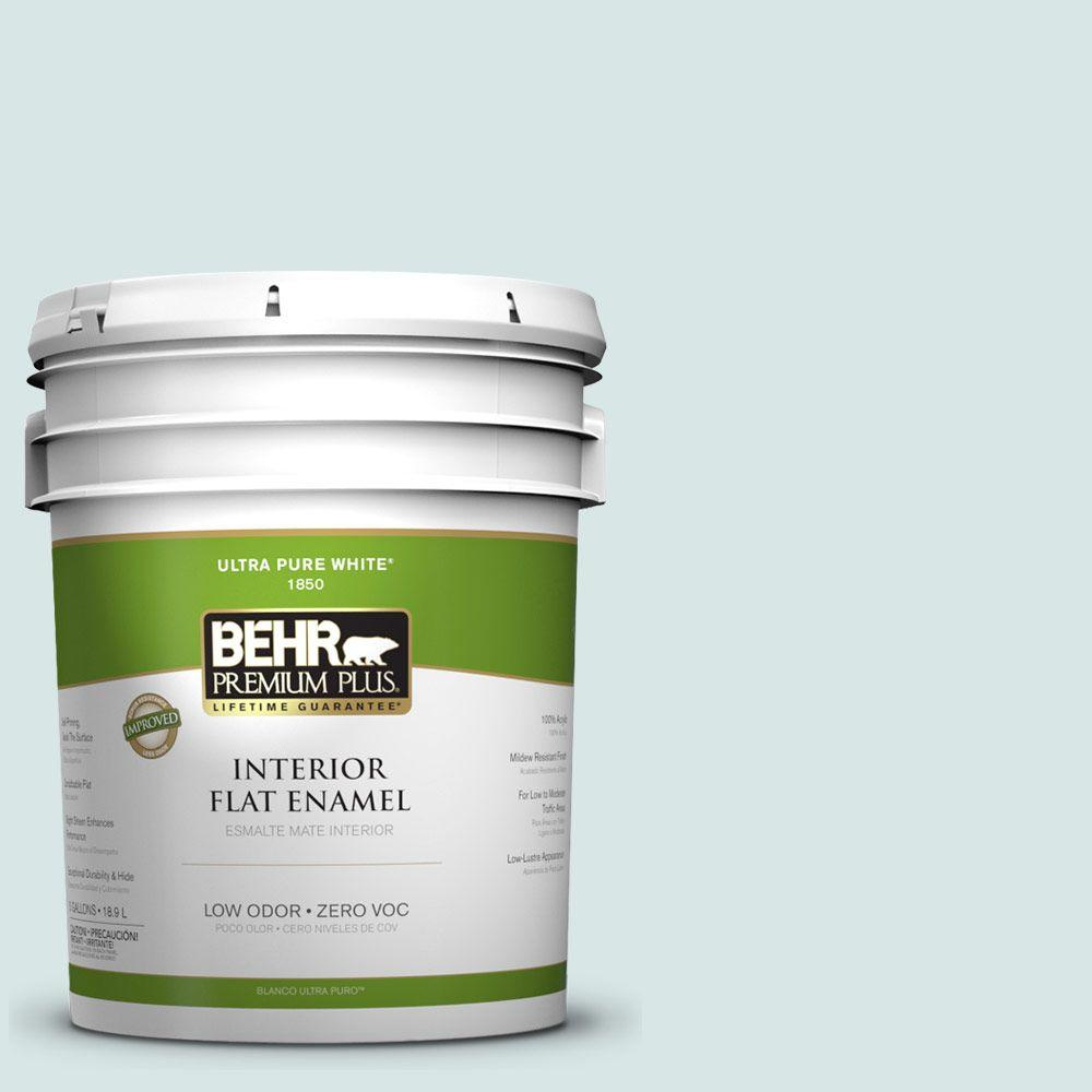 BEHR Premium Plus 5-gal. #500E-2 Aqua Breeze Zero VOC Flat Enamel Interior Paint-DISCONTINUED