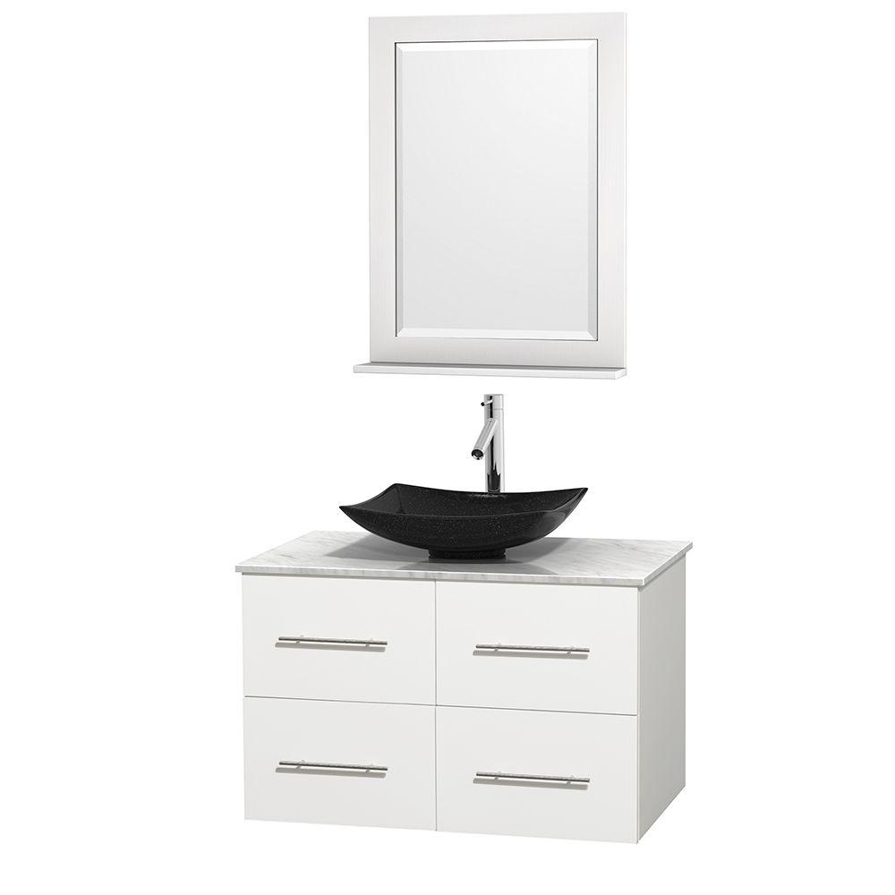 Wyndham Collection Centra 36 in. Vanity in White with Marble Vanity Top in Carrara White, Black Granite Sink and 24 in. Mirror