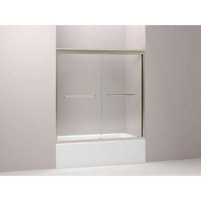 Fluence 59-5/8 in. x 58-5/16 in. Frameless Sliding Shower Door in Anodized Brushed Bronze with Handle