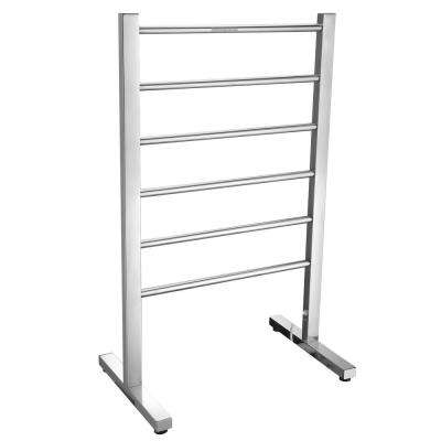 Riposte Series 6-Bar Stainless Steel Floor Mounted Electric Towel Warmer Rack in Polished Chrome