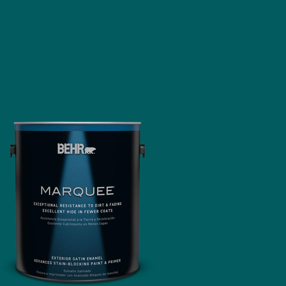 BEHR MARQUEE 1-gal. #S-H-500 Realm Satin Enamel Exterior Paint, Turquoises/Aquas