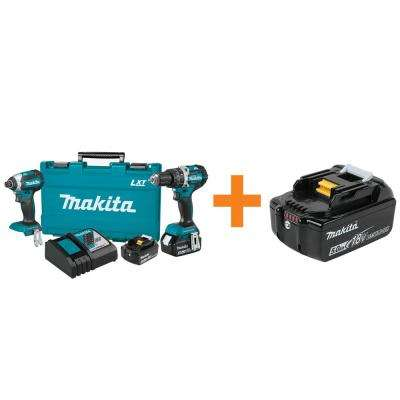 18-Volt LXT Brushless Cordless 2-Piece Combo Kit with 4.0Ah/Bonus 18-Volt 5.0Ah LXT Lithium-Ion Battery