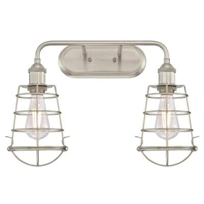 Oliver 2-Light Brushed Nickel Wall Mount Bath Light