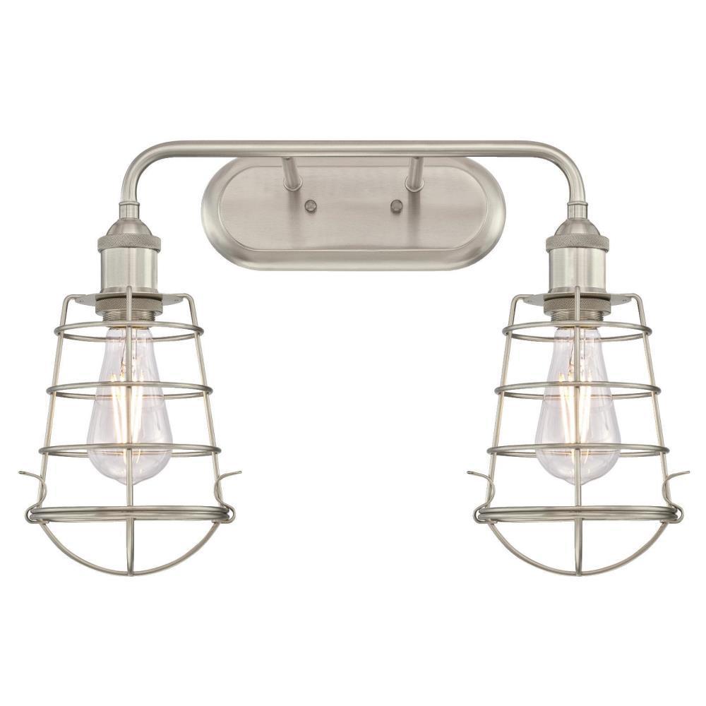 Oliver 2-Light Brushed Nickel Wall Mount Bath Light