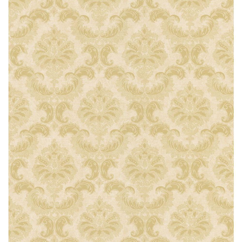 Textured Weaves Yellow Damask Wallpaper Sample
