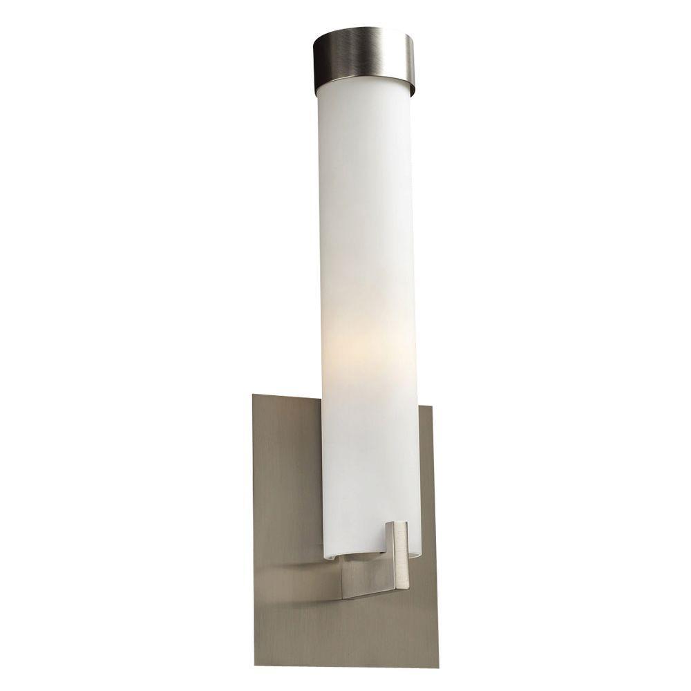 PLC Lighting 1-Light Satin Nickel Sconce with Matte Opal Glass