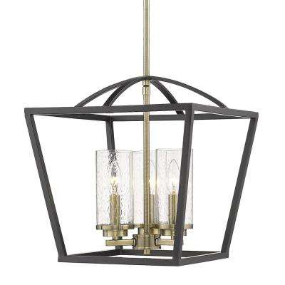 Mercer 3-Light Pendant in Matte Black with Aged Brass Accents and Seeded Glass