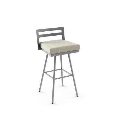 Hopkins 26 in. Light Beige P.V.C. / Silver Grey Metal Swivel Counter Stool