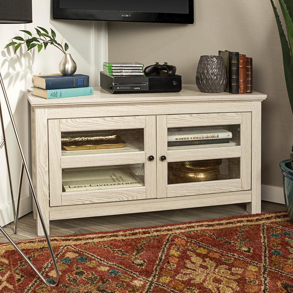 44 in. White Wash Corner Wood TV Console