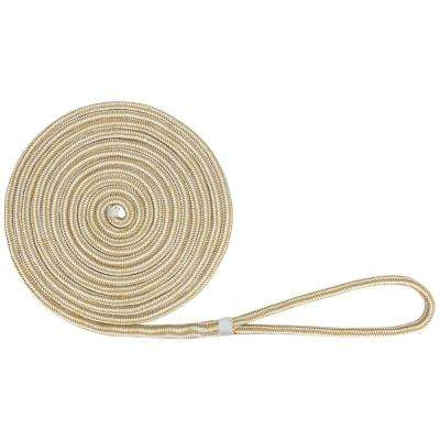 BoatTector 5/8 in. x 35 ft. Double Braid Nylon Dock Line in White and Gold