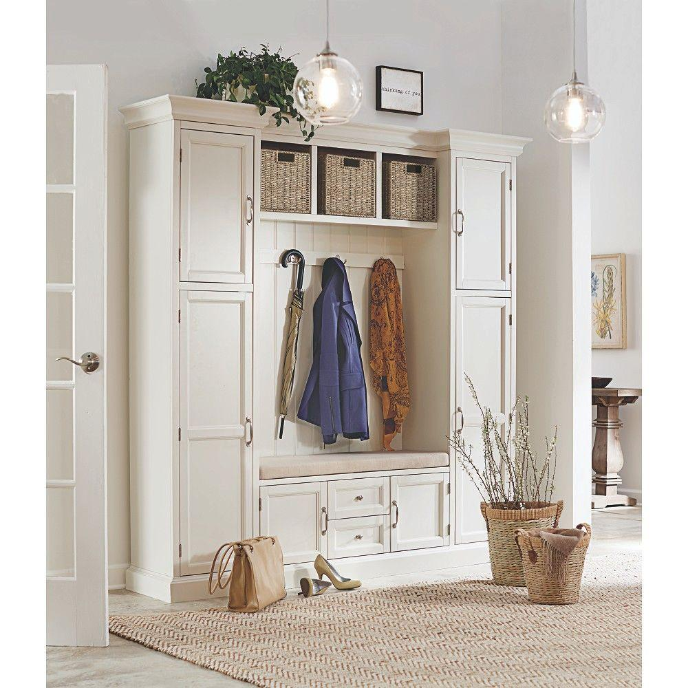 Home Decorators Collection Royce Polar White Hall Tree 7474200410 The Home Depot