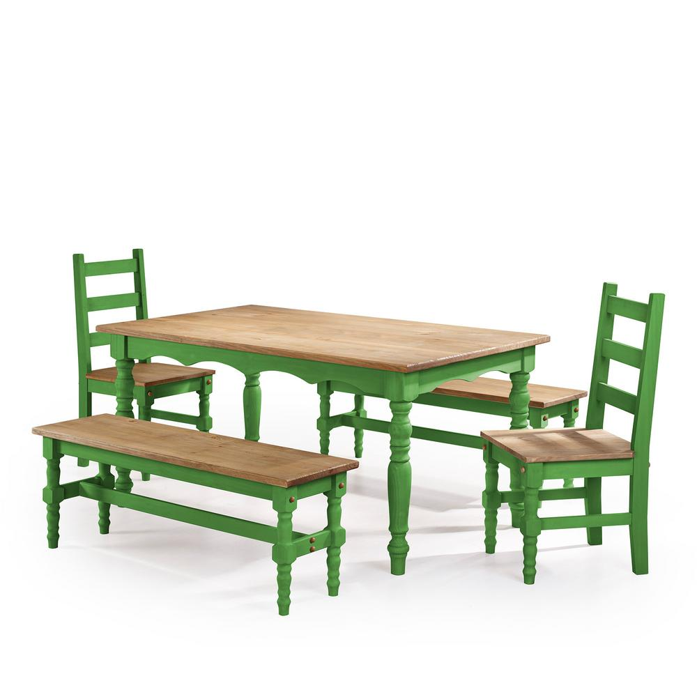Jay 5-Piece Green Wash Solid Wood Dining Set with 2-Benches, 2-Chairs