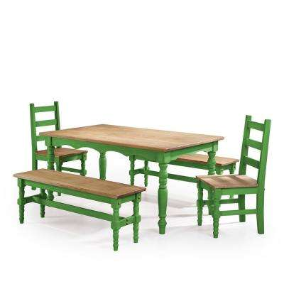 Jay 5 Piece Green Wash Solid Wood Dining Set With 2 Benches, 2