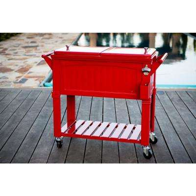 80 qt. Red Antique Furniture Style Rolling Patio Cooler
