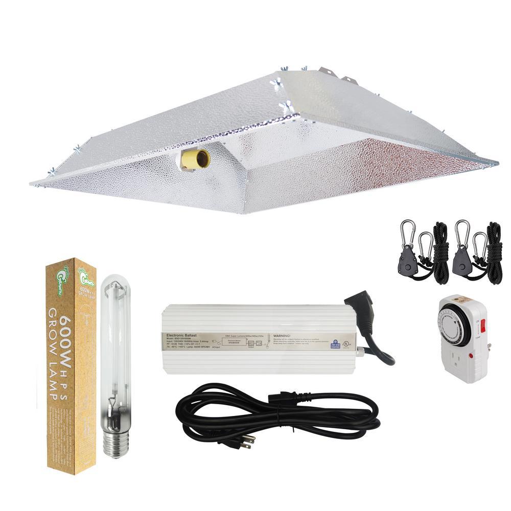 600-Watt HPS Grow Light System with XXL Open Hood Grow Light Reflector