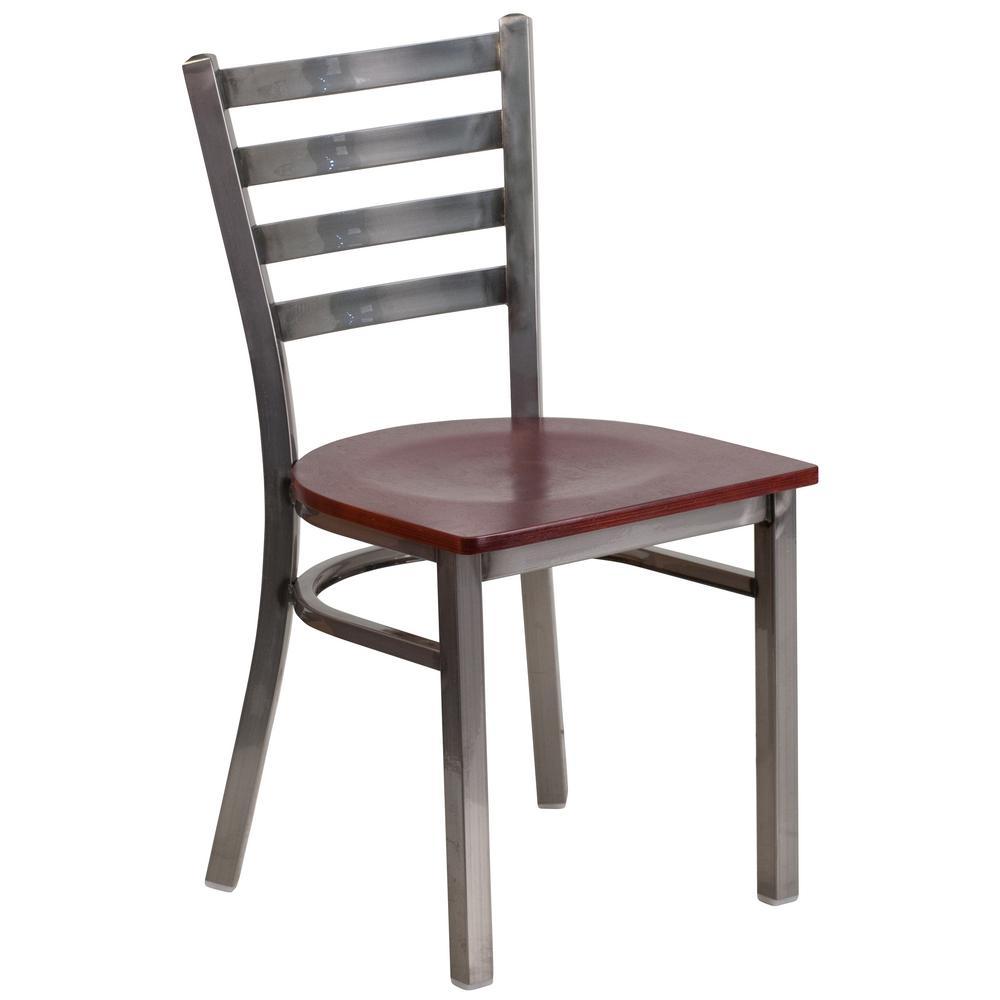 Hercules Series Clear Coated Ladder Back Metal Restaurant Chair - Mahogany Wood Seat