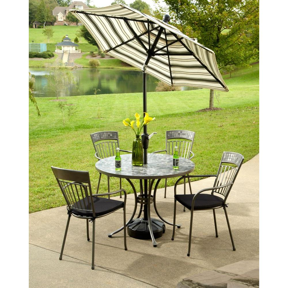 Home Styles Glen Rock Marble 41 in. Round 5-Piece Patio Dining Set with Black Cushions