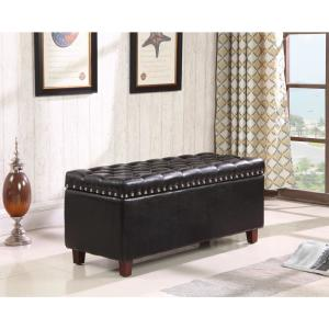 Wondrous Black Bonded Leather Storage Ottoman 91018Bd 63Bk The Home Creativecarmelina Interior Chair Design Creativecarmelinacom