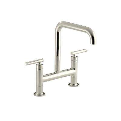 Purist 12 in. 2-Handle Deck-Mount High-Arc Bridge Kitchen Faucet in Vibrant Polished Nickel