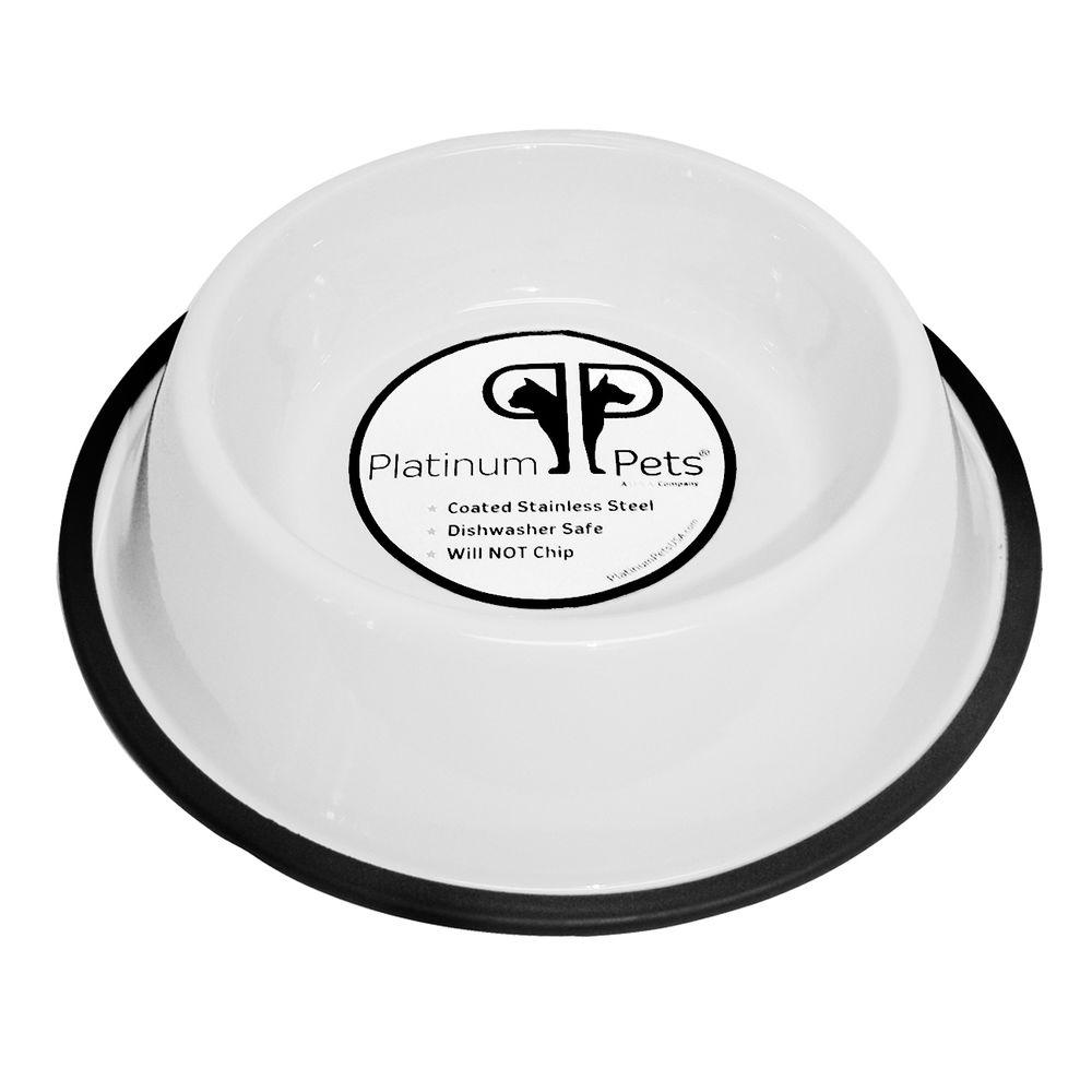 Platinum Pets 3 Cup Stainless Steel Non-Embossed Non-Tip Bowl in White